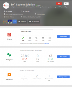 Soft System Solution Google My Business Dashboard